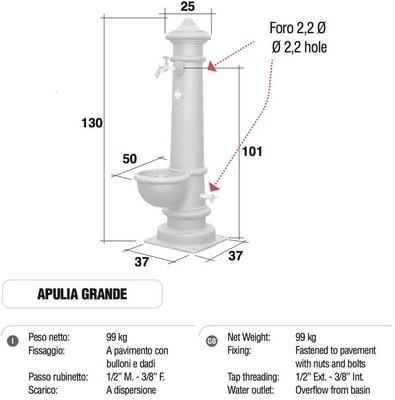 Водопроводная колонка чугунная APULIA GRANDE (фото, Колонка чугунная APULIA GRANDE )