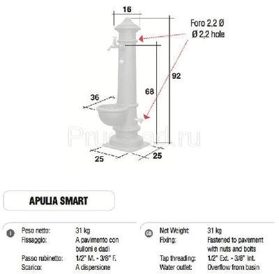 Водопроводная колонка чугунная APULIA SMART Trevi (фото, Колонка чугунная APULIA SMART Trevi )