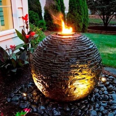 """Декоративный фонтан """"Ваза"""" каменная сфера (средняя) (фото,  Декоративный фонтан каменная сфера средняя)"""